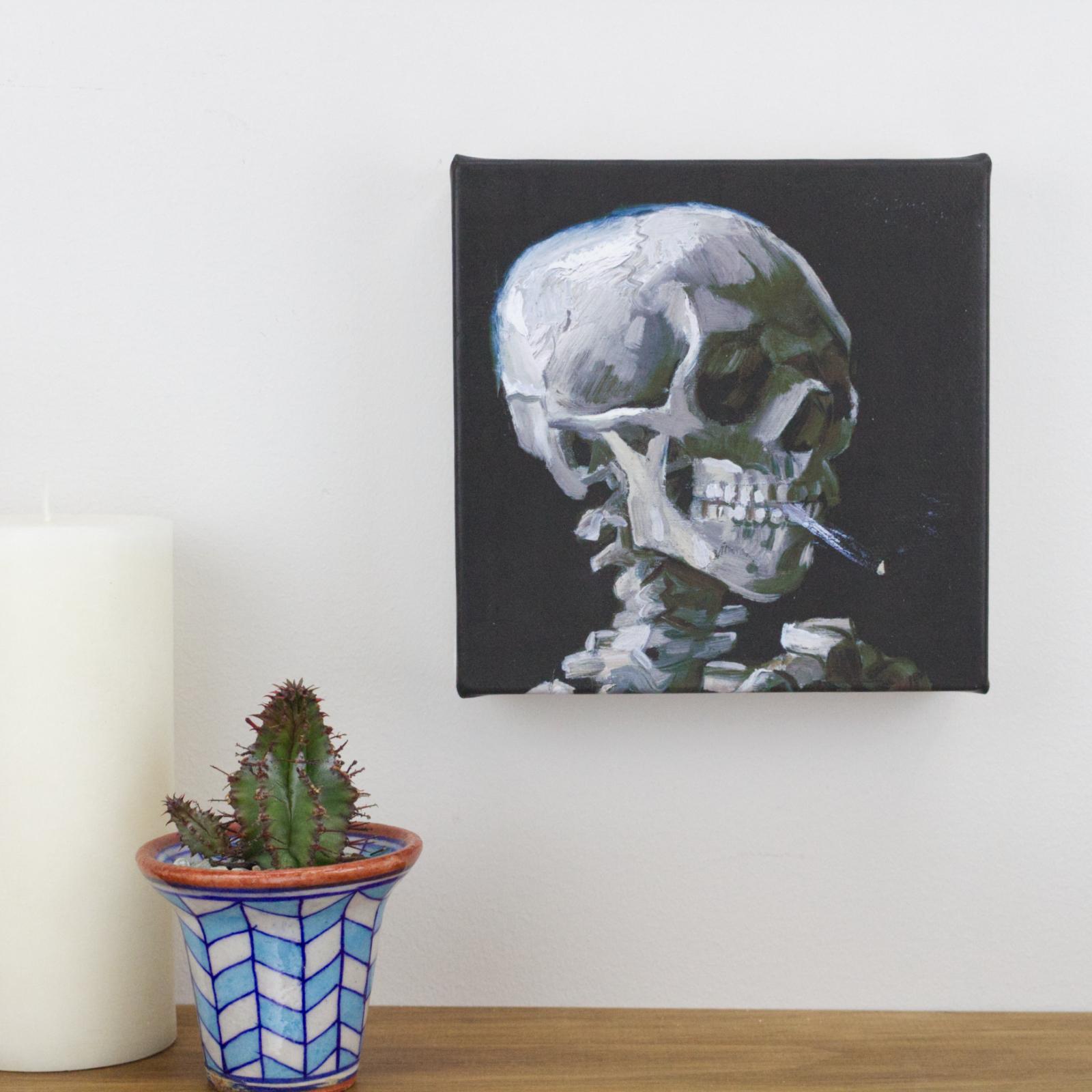 Skull Of A Skeleton With Burning Cigarette Happy Medium